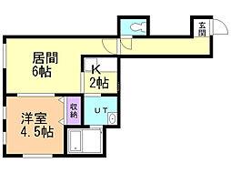 オーガスタ13 2階1DKの間取り