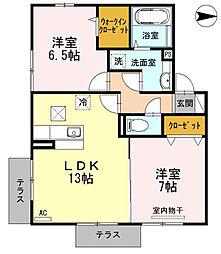 愛媛県松山市天山2丁目の賃貸アパートの間取り