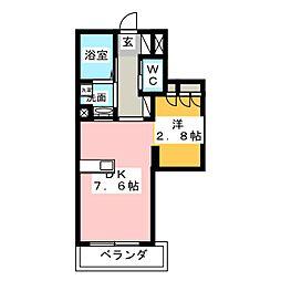 ピースコート登戸II 1階1DKの間取り