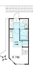 神奈川県横浜市神奈川区白幡南町の賃貸アパートの間取り