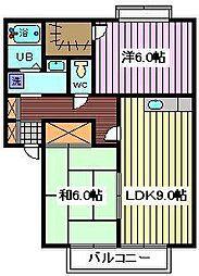 埼玉県さいたま市南区四谷2丁目の賃貸アパートの間取り
