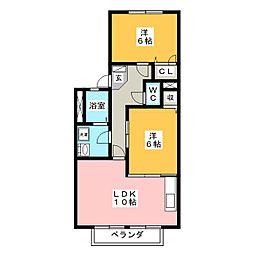 ムーンリバーE[2階]の間取り