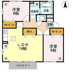 富山県富山市布瀬町南3丁目の賃貸アパートの間取り