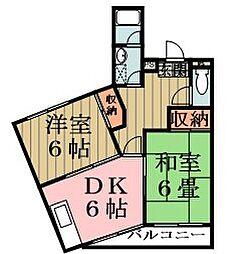 埼玉県草加市草加5丁目の賃貸マンションの間取り