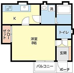 新潟県新潟市中央区学校町通1番町の賃貸アパートの間取り