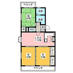 ラ・カシタ・グリスII[4階]の間取り