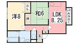 ラフィーネ'98 B棟[202号室]の間取り