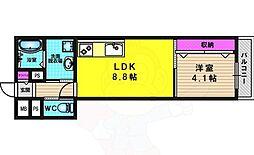 Villa桂 1階1LDKの間取り