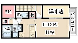 兵庫県伊丹市森本2丁目の賃貸アパートの間取り