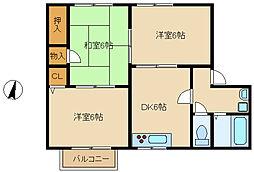 兵庫県尼崎市武庫之荘9丁目の賃貸アパートの間取り