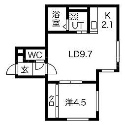 LiTHOS-M(リトス-エム) 1階1LDKの間取り