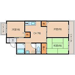 奈良県奈良市五条の賃貸マンションの間取り