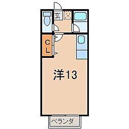 サクシード金子 1階ワンルームの間取り