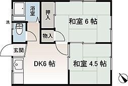 香陽荘[102号室]の間取り
