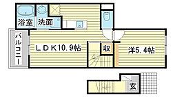 土山6丁目アパート[201号室]の間取り