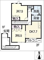 シュガーN[2階]の間取り