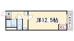 神鉄粟生線 鈴蘭台駅 徒歩2分の賃貸マンション 3階1Kの間取り