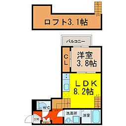 愛知県名古屋市中村区中村町4の賃貸アパートの間取り