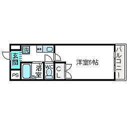 大阪府高槻市北園町の賃貸マンションの間取り