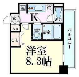 京阪本線 天満橋駅 徒歩5分の賃貸マンション 2階1Kの間取り