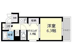 エステムコート新大阪 10階1DKの間取り