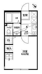 神奈川県横浜市中区豆口台の賃貸アパートの間取り