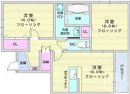 JR東北本線 太子堂駅 徒歩19分の賃貸アパート 1階2LDKの間取り
