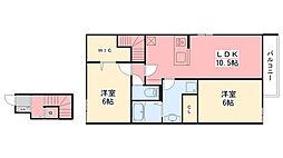 (仮)D-room北土居[201号室]の間取り