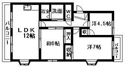 フローラ蜆塚II[4階]の間取り
