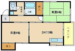 兵庫県明石市魚住町金ケ崎の賃貸アパートの間取り