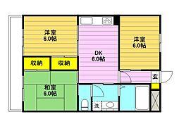 東京都国分寺市西町2丁目の賃貸マンションの間取り