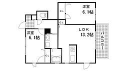 兵庫県神戸市須磨区若草町3丁目の賃貸マンションの間取り