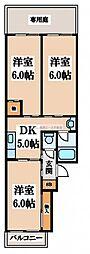 PALMIZIO瓢箪山[1階]の間取り