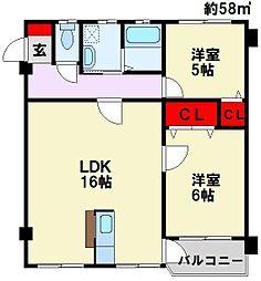 清田グリーンハイツ[3階]の間取り