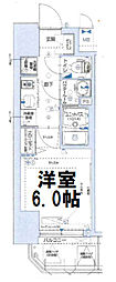 グランカリテ大阪城イースト 13階1Kの間取り
