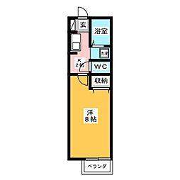 ボヌール水海道 2階1Kの間取り