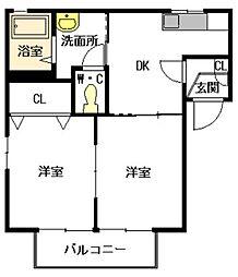 福岡県福岡市城南区七隈7丁目の賃貸アパートの間取り
