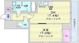 JR仙山線 東北福祉大前駅 徒歩13分の賃貸マンション 2階1DKの間取り