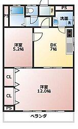 ルネマンション千塚[2階]の間取り