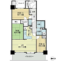 ライオンズタワー仙台広瀬[22階]の間取り