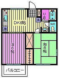 ウエムラコーポ[1階]の間取り