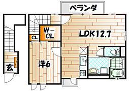 福岡県北九州市小倉北区大畠2丁目の賃貸アパートの間取り