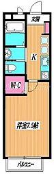 JR中央線 東小金井駅 徒歩10分の賃貸アパート 1階1Kの間取り