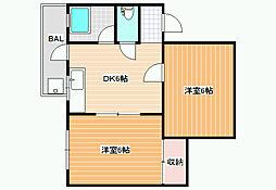 パル恵我之荘[3階]の間取り