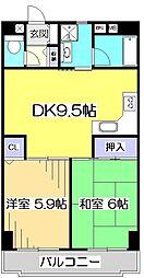 東京都小平市喜平町1丁目の賃貸マンションの間取り