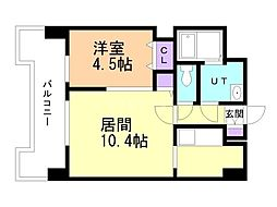 UURコート札幌北三条 13階1LDKの間取り