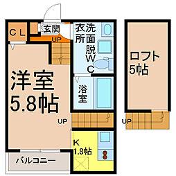 愛知県名古屋市北区生駒町7丁目の賃貸アパートの間取り