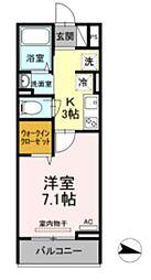メゾン・ド・キャトルVII 2階1Kの間取り
