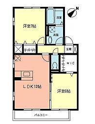 神奈川県座間市ひばりが丘5丁目の賃貸アパートの間取り