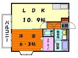 福岡県福岡市東区香住ケ丘6丁目の賃貸アパートの間取り